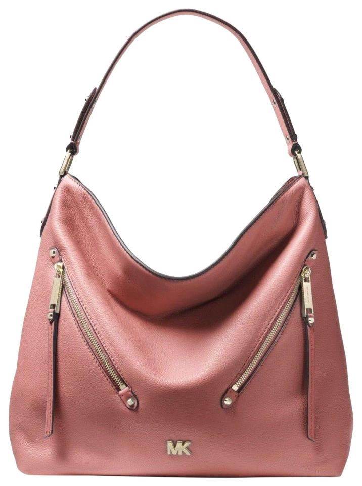 ad4f054c583a50 Michael Kors Hobo Evie Large Double Zipper Rose/Gold Leather Shoulder Bag