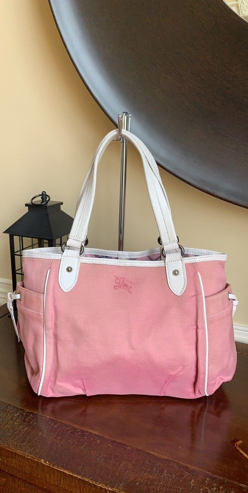 c93d6634526d Burberry Blue Label Medium Handbag Pink White Canvas Leather Thread ...
