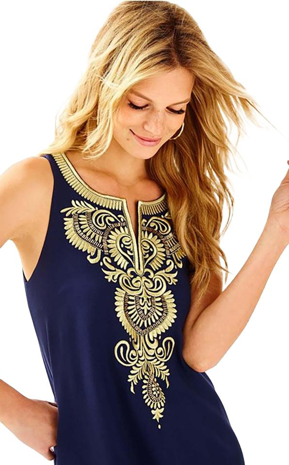 c1861c0a2afd8 Lilly Pulitzer Navy Aubra Shift and Gold - Short Cocktail Dress Size ...