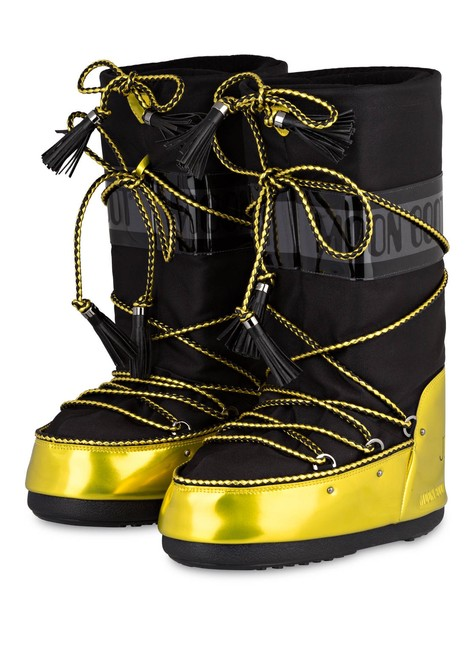Item - Black Yellow Leather Fabric Tall Snow 35 36 37 Boots/Booties Size EU 38 (Approx. US 8) Regular (M, B)