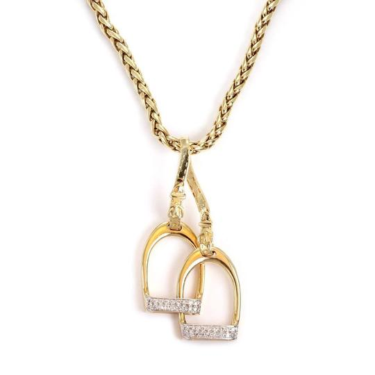 Preload https://img-static.tradesy.com/item/24602988/estate-diamond-14k-gold-double-horse-stirrup-pendant-woven-chain-neckl-necklace-0-0-540-540.jpg
