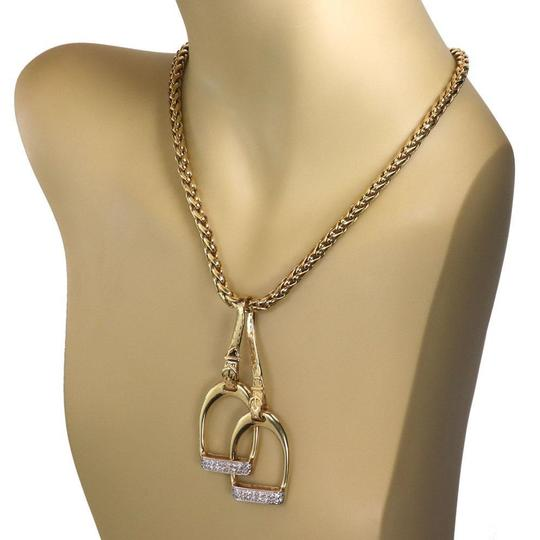 Other Estate Diamond 14k Gold Double Horse Stirrup Pendant Woven Chain Neckl