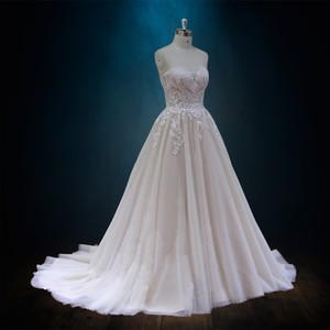 Lace A-line with Tulle Skirt Formal Wedding Dress Size 14 (L)
