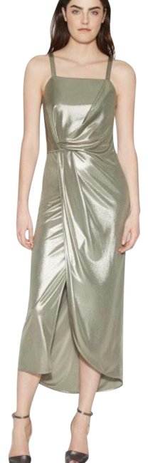 Item - Metallic / Gold-silver Shimmer Jersey Mid-length Formal Dress Size 6 (S)