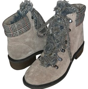 Sam Edelman Suede Laceup Taupe Warm Faux Fur Putty Boots