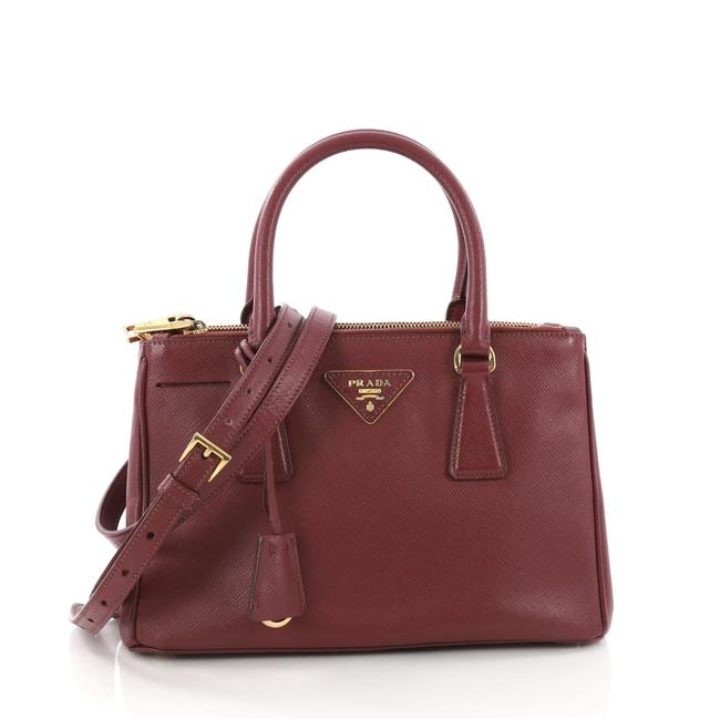 Item - Double Lux Zip Tote Saffiano Small Burgundy Leather Weekend/Travel Bag
