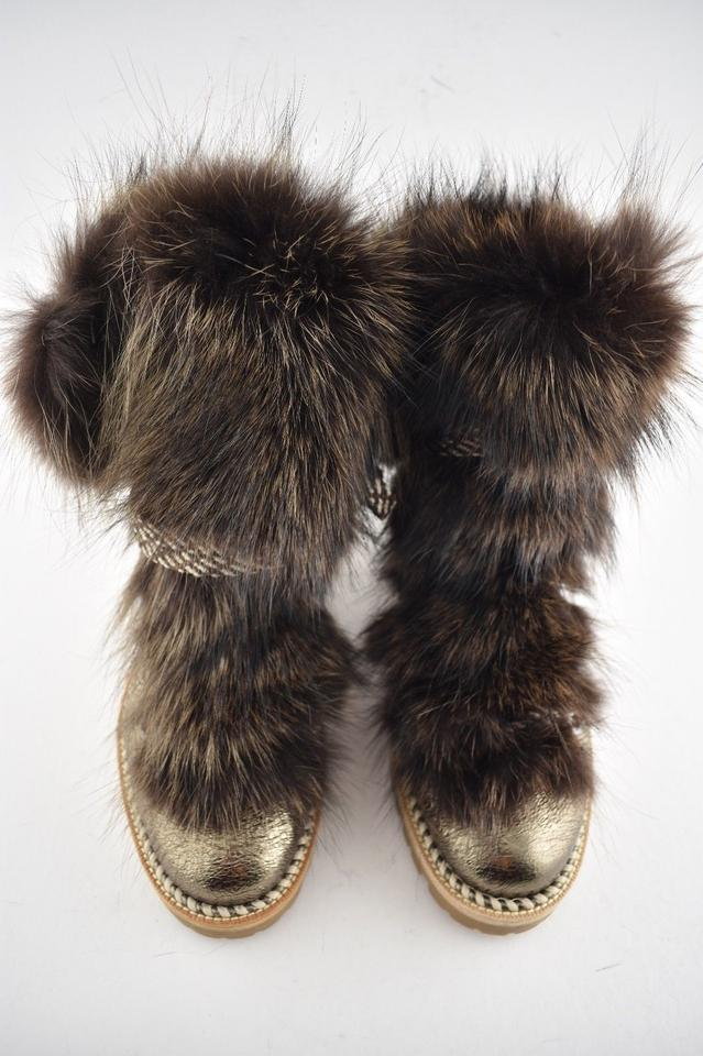 ad9315ab8425 Christian Louboutin Bronze Fanny Flat Roche Gold Raccoon Fur Leather Lace  Up Tie Combat Boots Booties Size EU 35.5 (Approx. US 5.5) Regular (M