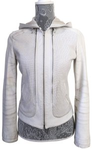Elie Tahari Perforated Edgy Distressed Hooded White Leather Jacket