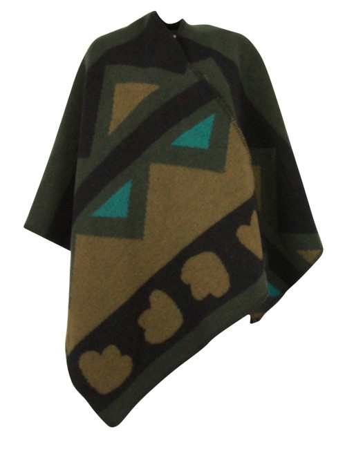 Item - Multicolor Angular Patchwork Wool Cashmere Poncho/Cape Size OS (one size)
