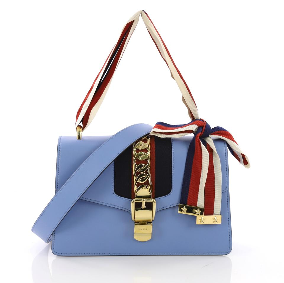 5e98f692858fe Gucci Sylvie Small Light Blue Leather Shoulder Bag - Tradesy