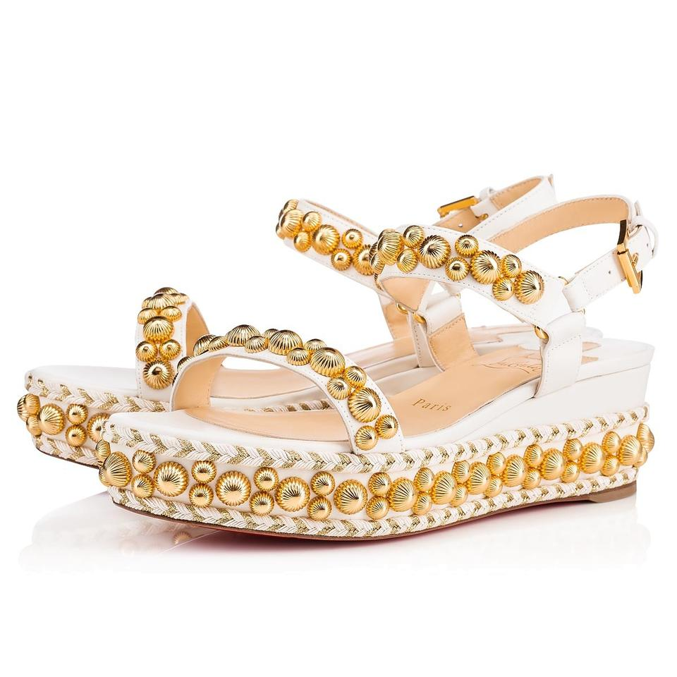 3b51f7e4d3b Christian Louboutin White Gold Rondaclou 60 Studded Wedge Heel Sandals  Platforms