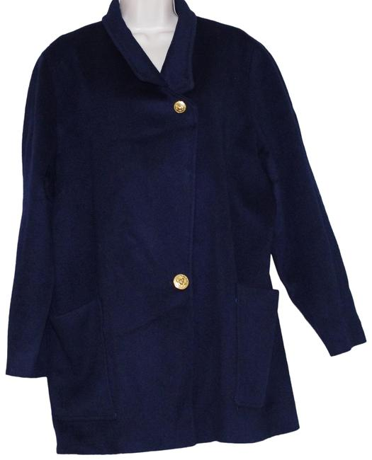 Item - Navy Blue Vtg. Wool Gold Buttons Women's 3/4 Length Coat Size 12 (L)