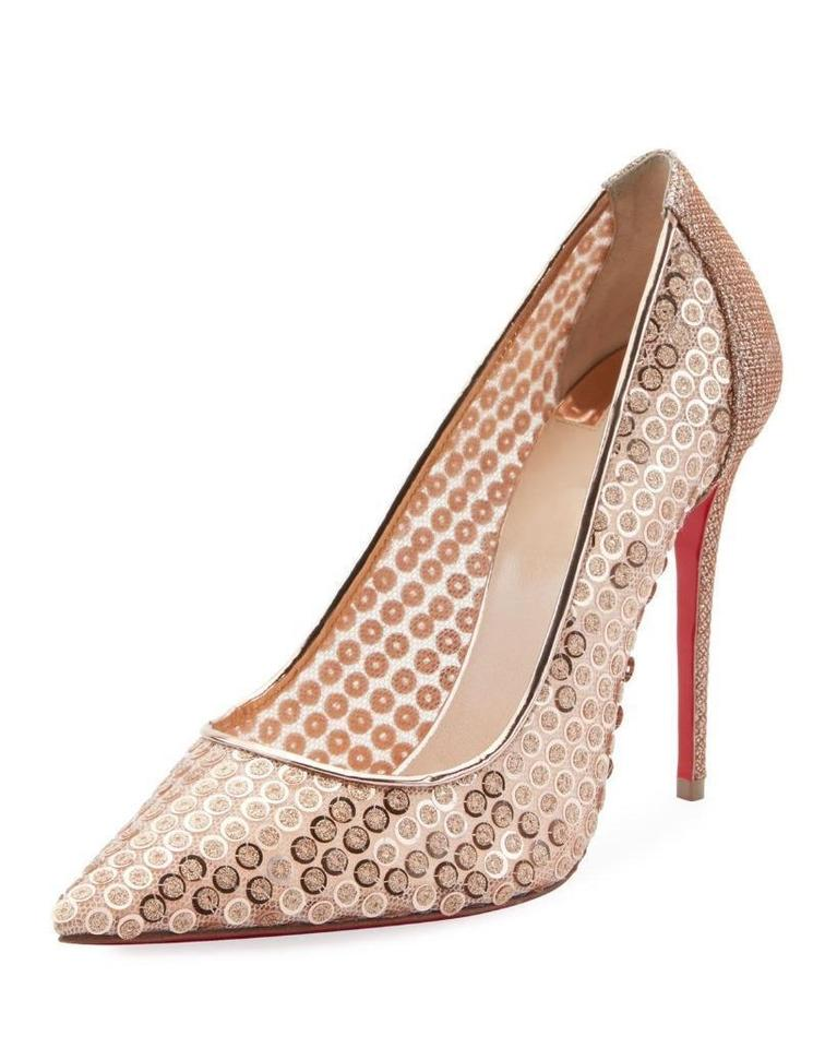bd7ff2f9a6f6 Christian Louboutin Lace Sequin 554 Sequined Glitter Nude Pumps Image 0 ...