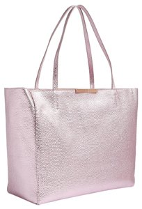 85bd2610d0 Ted Baker Metallic Leather Shopper Logo Tote in Pink