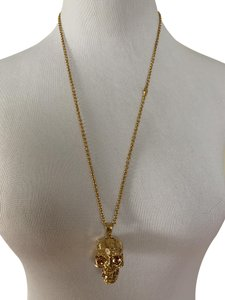 Alexander McQueen Large 3D Textured Skull Crystal Logo Long Chain Necklace