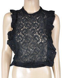 Robin K Lace Paisley Crop Top Black