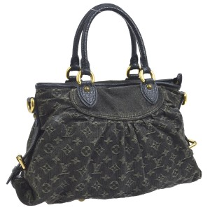 Louis Vuitton Laptop Iphone Ipad Apple Samsung Satchel in Black Charcoal Dark Denim Jean Monogram Speedy Pleaty Baggy Cruise