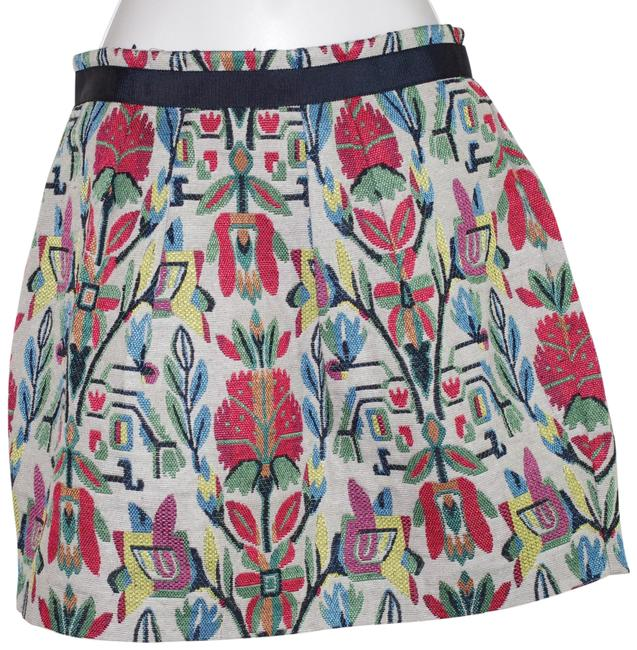 Item - Multicolored Cotton Blend Floral Print Mini Pleated Skirt Size 4 (S, 27)