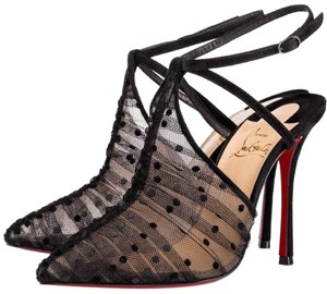 Christian Louboutin Acide Lace Stiletto Ankle Strap Crisscross Strap black Pumps