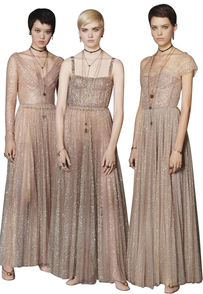 online buying now catch Dior Beige - Golden Strapless Long Night Out Dress Size 4 (S) 34% off retail
