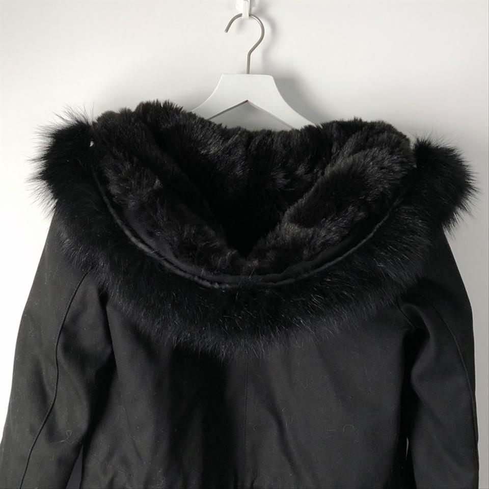 88738698a32 The Kooples Black Heavyweight Fur-lined Cotton Twill Parka Coat Size ...
