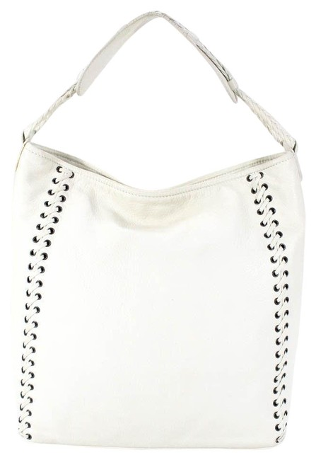 Item - Hobo XL Style Purses White Leather with Chrome Grommets with Woven Lacing Design and Braided Strap Tote