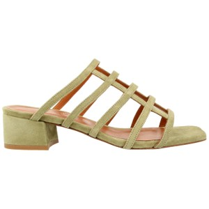 By Far Suede Slip On Leather Green Yellow Sandals