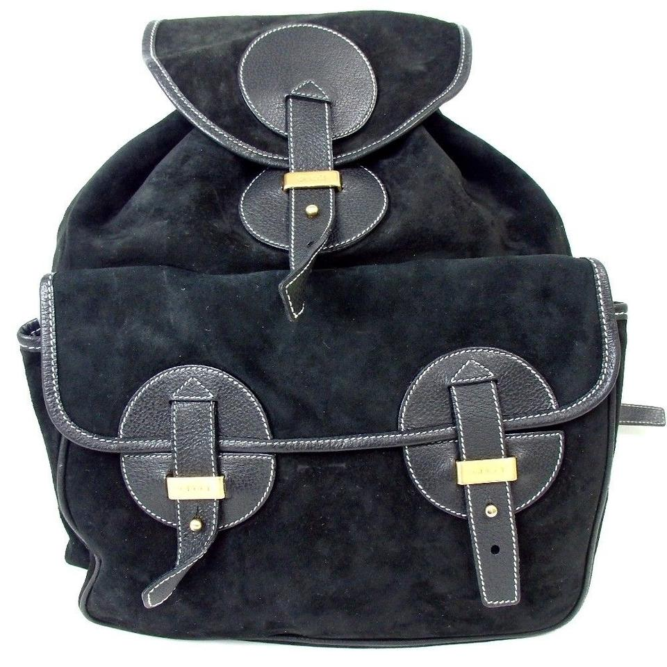9e008b0bd19e Gucci Hobo Style Black Gold Hardware Suede Leather Backpack - Tradesy