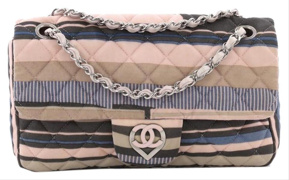 Chanel Classic Flap Cc Heart Quilted Printed Medium Pink and Blue ... 9b69babdb5814