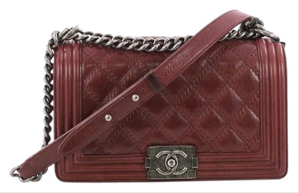 2b9285bffd9819 Chanel Classic Flap Boy Double Stitch Quilted Old Medium Red Calfskin  Shoulder Bag