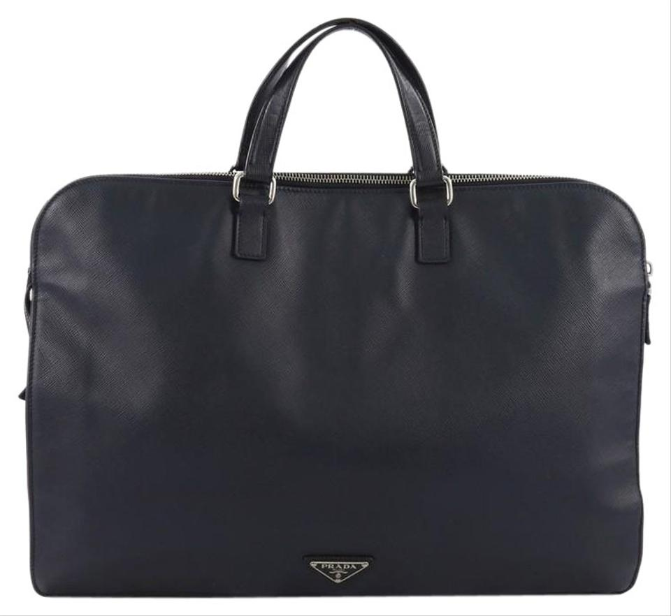0d5566481424d7 Prada Twin Pocket Briefcase Saffiano Black Leather Weekend/Travel ...