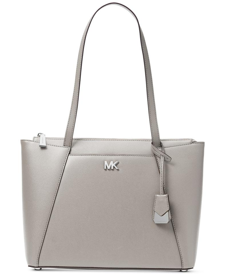 e5d4cc9b7fba Michael Kors East West Maddie Medium Pearl Grey/Silver Leather Tote ...