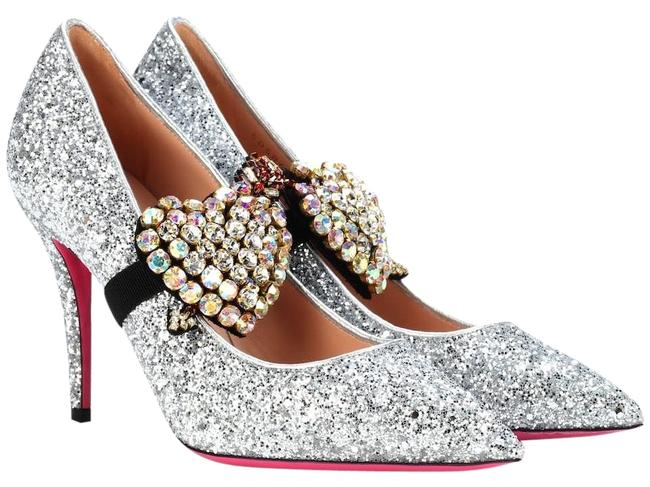 Item - Silver Virginia 95mm Glitter with Crystals Pumps Size EU 36.5 (Approx. US 6.5) Narrow (Aa, N)