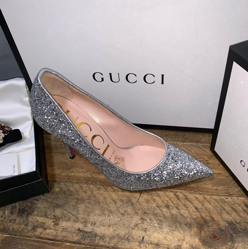 6d5dc447ed14 Gucci Silver 95mm Virginia Glitter with Crystals Pumps Size EU 36.5 ...