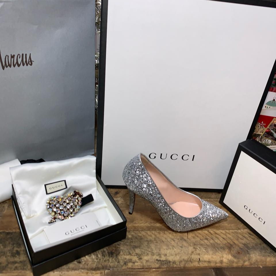 345e9377d2ad Gucci Silver 95mm Virginia Glitter with Crystals Pumps Size EU 36.5  (Approx. US 6.5) Narrow (Aa