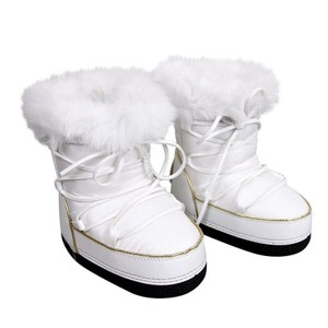 Gucci White Kid's Nylon Interlocking G Fur Trim Boots 298368 (24 G / 8 Us) Shoes