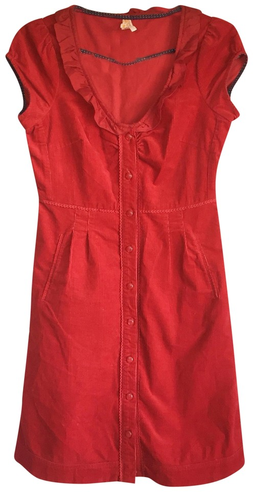922124001d6b4 Anthropologie Red Maeve Corduroy Button Down Work/Office Dress Size ...