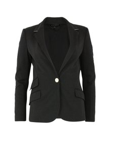LAVEER Basic Fitted Single Breasted Button Black Blazer