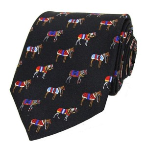 Gucci Blue Silk Horse Print Midnight 388148 4074 (One Size) Tie/Bowtie