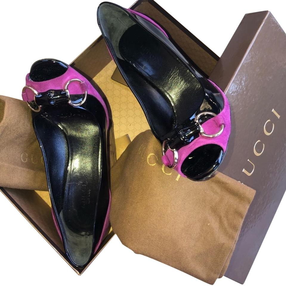 daa02fb6d5a Gucci Black   Fuchsia Horsebit Patent Leather with Bamboo Pumps Size ...