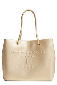 ac320aa7b540 Marc Jacobs Logo Shopper Tote Gold Leather Shoulder Bag - Tradesy