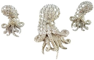 SUNIL CARIBBEAN DESIGNER OCTOPUS NECKLACE & EARRING SET WSWAROVSKI CRYSTALS
