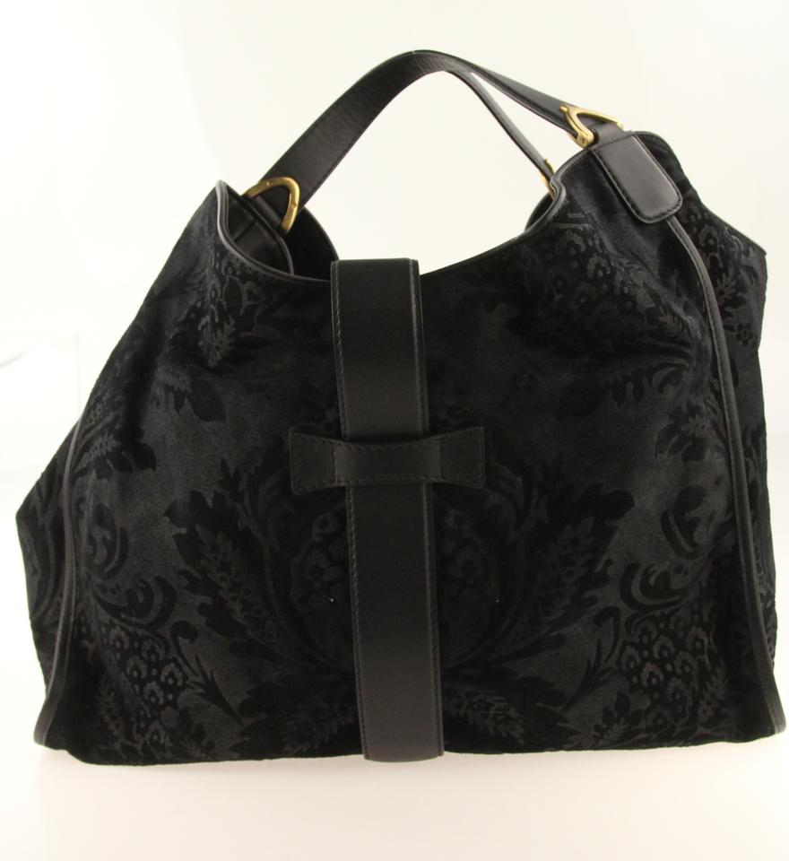 e86dcc29184 Gucci Stirrup Floral Embossed Black Suede Leather Hobo Bag - Tradesy