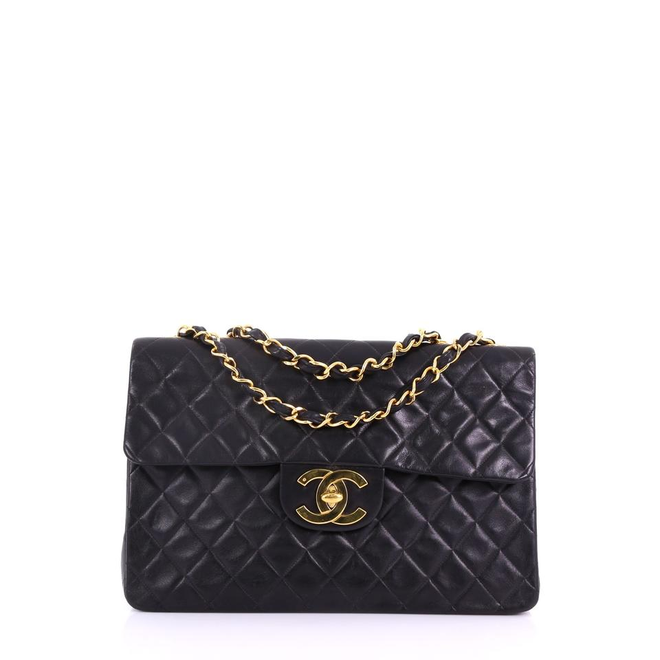 e8dc99ff401b Chanel Classic Flap Vintage Classic Single Quilted Maxi Black Lambskin  Leather Shoulder Bag