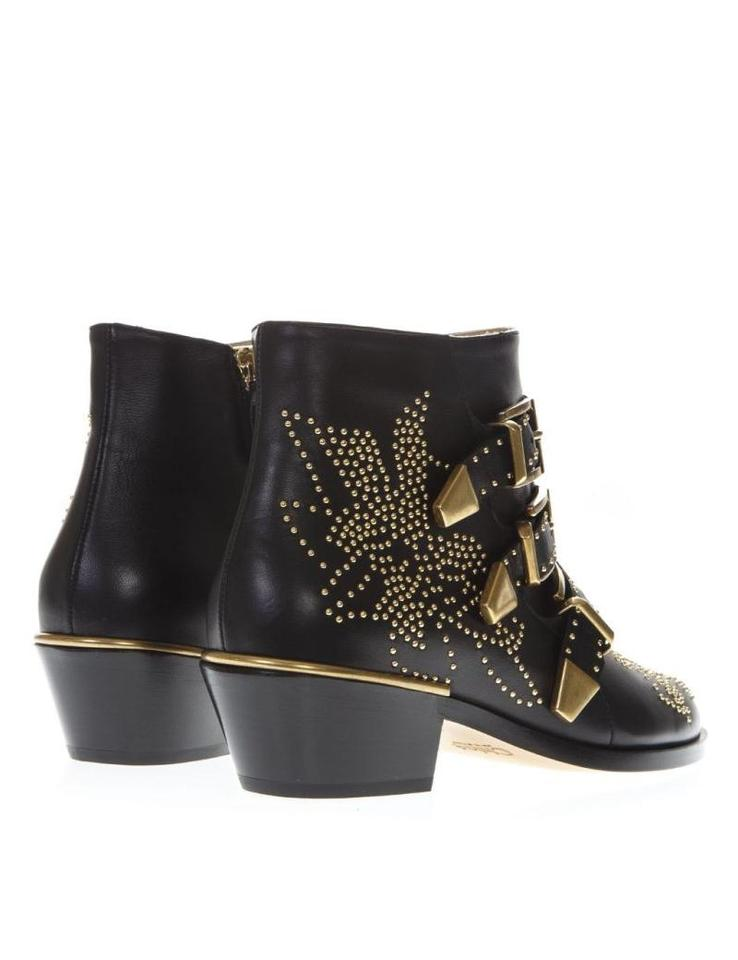 7aa19f9e Chloé Black Gold Susanna Leather Ankle Boots/Booties Size EU 36 (Approx. US  6) Regular (M, B)