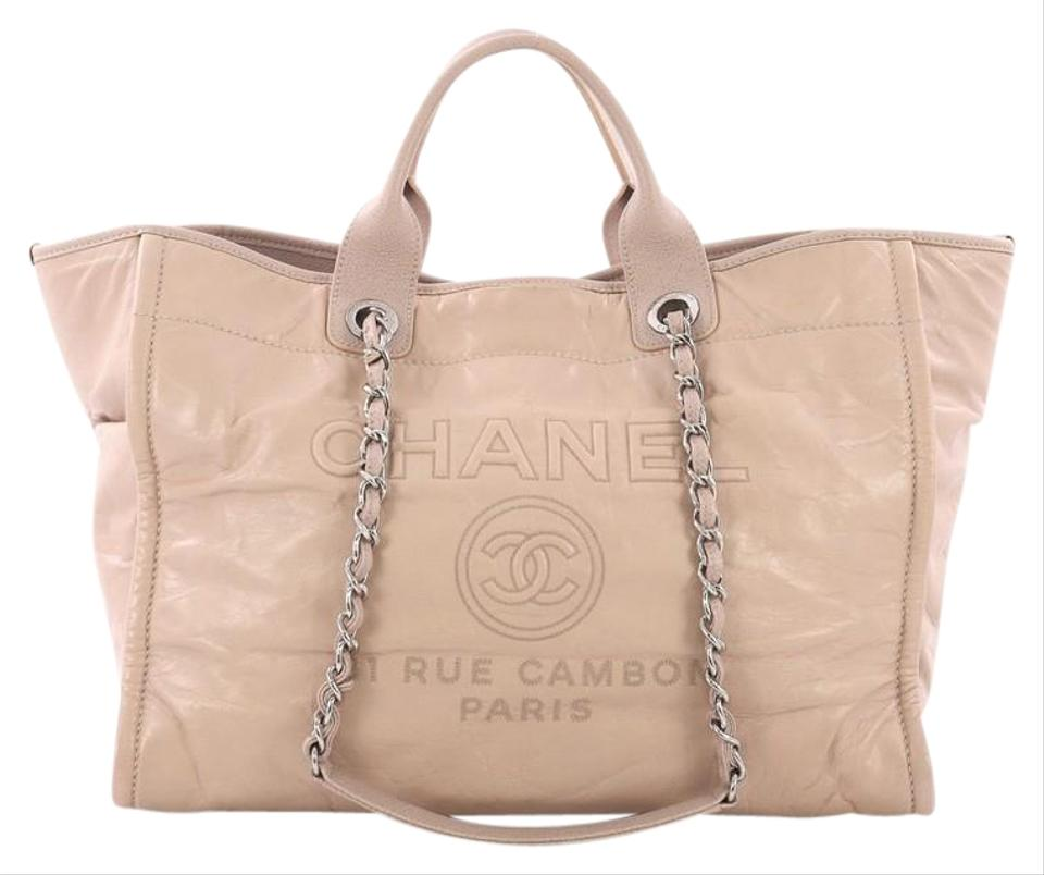 7aa1df9ccb8e Chanel Deauville Chain Glazed Calfskin Large Light Pink Leather Tote ...