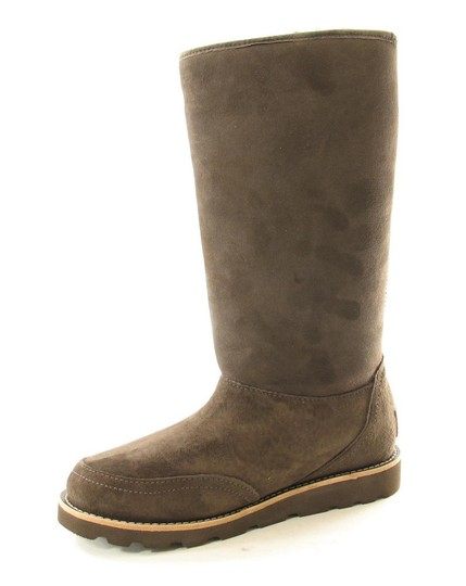 Ugg Elissa Shearling Suede Braided Brown Boots Image 1