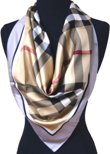 Burberry NWT Authentic Burberry Beige Black Check Silk Square Scarf Image 0