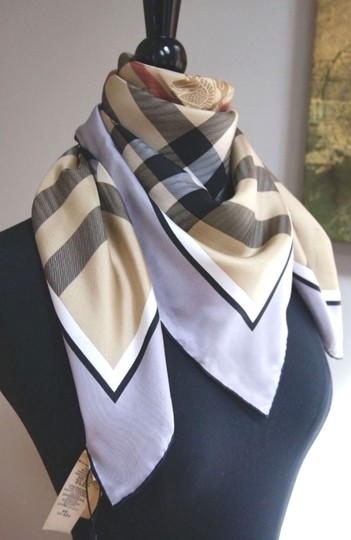 Burberry NWT Authentic Burberry Beige Black Check Silk Square Scarf Image 1
