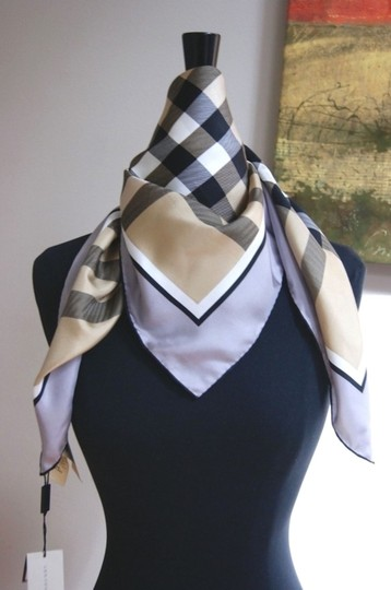 Burberry NWT Authentic Burberry Beige Black Check Silk Square Scarf Image 2